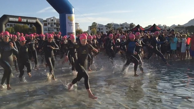 Mallorca 70.3 Carolyn Hayes IRL swim entry